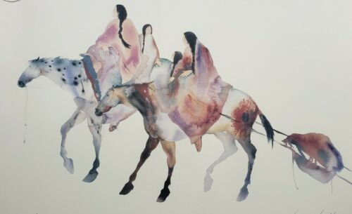 Primary image for Carol Grigg Native American Indian Women on Horse Art Poster Print Gango Gallery