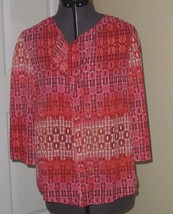 *Notations Top Blouse Size S Pink Orange Print Silky Feel Lightweight Nwt - $14.99