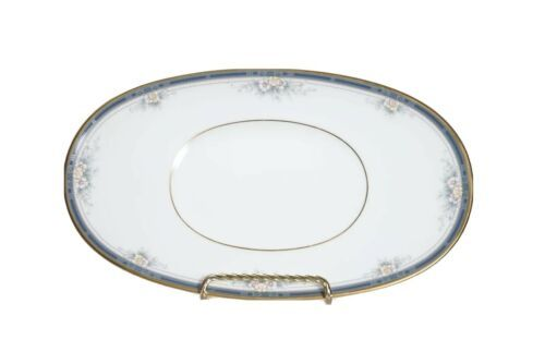 """NORITAKE China ONTARIO 3763 White Blue Floral Oval Relish Dish Butter Plate 9"""" - $34.64"""