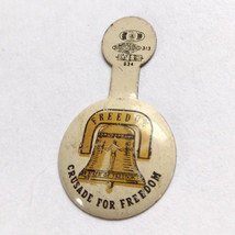 Crusade For Freedom Bell 1940s-50s Fold Button Pinback Pin VTG - $5.90