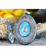 Vintage Shriner Masonic Pendant Necklace Camphor Glass Art Deco JHP  - $79.95