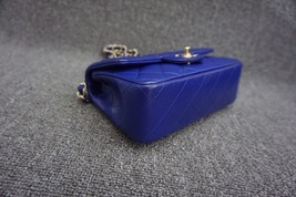 AUTH Chanel RARE ELECTRIC BLUE Quilted LAMBSKIN Large Mini 20CM Flap Bag GHW  image 4