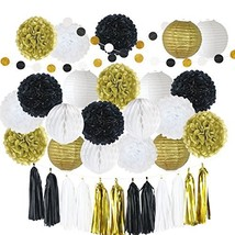 LITAUS Black and Gold Birthday Party Decorations, Tissue Pom Poms, Paper... - $34.94