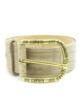 ROBERTO CAVALLI Women Belt Beige Gold Buckle Exotic Embossed Leather - $143.55