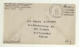 1944 Army Postal Service APO Cover Passed by Army Censor Examiner NY Pit... - $5.99
