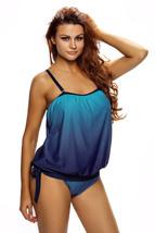 Ocean Blue 2pcs Bandeau Tankini Swimsuit  - $23.42