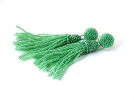 Mint Green Tassel Earrings Beaded Long Clip On Statement Fringe Bridesma... - $25.00+