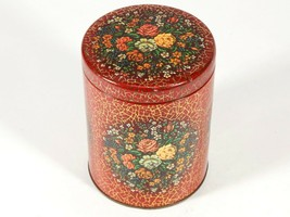Vintage Daher Tall Tin - Red Floral Metal Canister - MidCentury -Made in... - $18.70