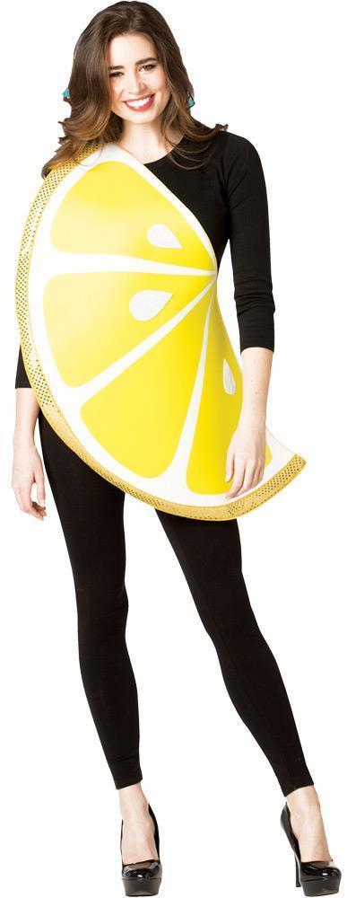 Lemon Slice Womens Costume Adult Fruit Food Yellow White Halloween Unique GC6183