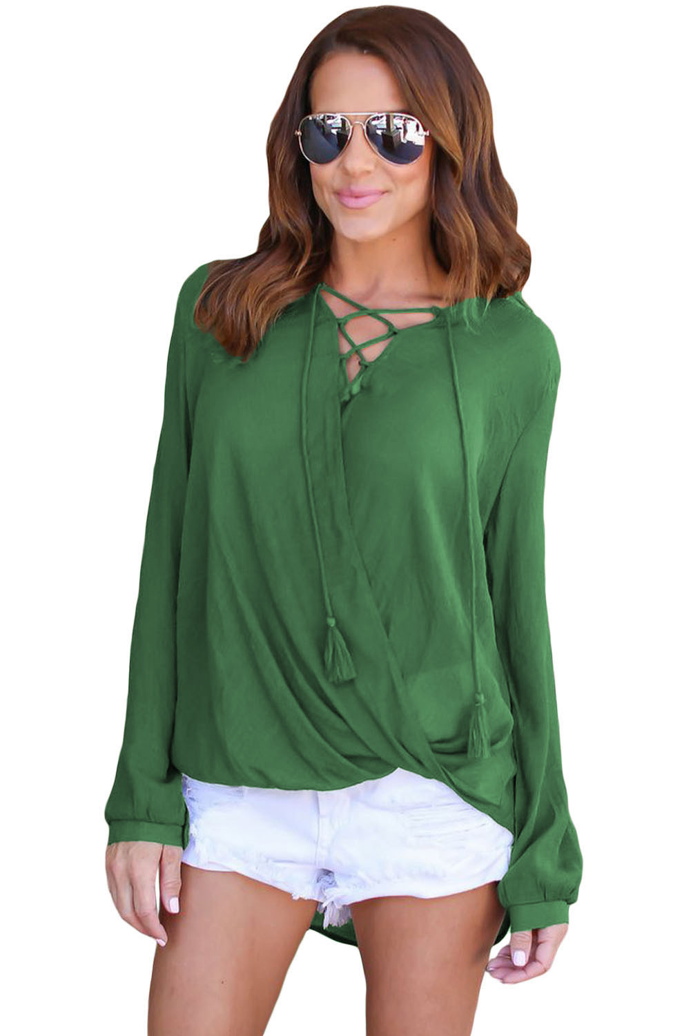 Olive bamboo lace up blouse lc250325 9 23505