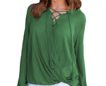 Olive bamboo lace up blouse lc250325 9 23505 thumb155 crop