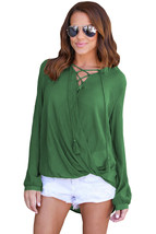 Olive Bamboo Lace up Blouse - $13.78