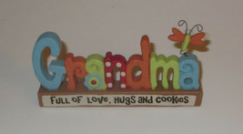 Grandma Full of Love Hugs and Cookies Free Standing Sign Butterfly Plaqu... - $9.21