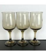 Lot Of 3 Vintage Libby Juniper Brown Wine Glasses Stem - $19.79