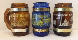 Vintage Lot Of 3 Glass Wood Handle Souvenir Mugs Tennessee DC Smoky Mtns - $22.44