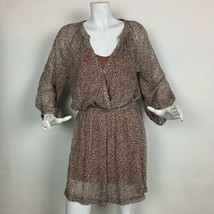 Joie Dress Animal print Sheer insert faux wrap size L - $49.99