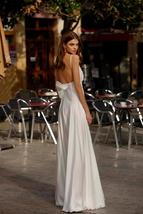 Spaghetti Straps Beach Chiffon V-neck Double High Split Wedding Gown image 3
