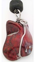 Red Jasper nugget Stainless Wire Wrap Pendant 18 - $10.90