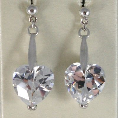 925 STERLING SILVER PENDANT EARRINGS WITH BIG WHITE FACETED HEART CUT CRYSTAL