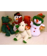 TY Beanie Babies Lot of Five (5) Christmas Beanies - Snowgirl, Mistletoe... - $29.98