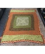 "Vtg. Hand Made Crochet Knitted Afghan Throw Blanket 50"" x 72"" Brown Oran... - $37.39"