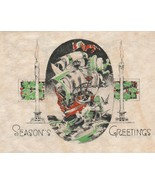 Vintage Christmas Card Ship at Sea Candles Parchment 1930's - $6.92