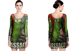 Massacre Pickle Rick Long Sleeve Bodycon Dress - $28.99+