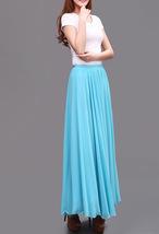 AQUA BLUE Long Chiffon Skirt High Waisted Full Circle Wedding Bridesmaid Skirt image 4