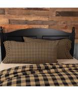 Black Check King Pillow Case Set of 2 21x40 Raven Khaki Patchwork Quilts - $24.00