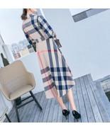 SALE! $199 Designer PLAID NOVA CHECK High Low Shirt Dress Belt Pockets S... - $79.99+
