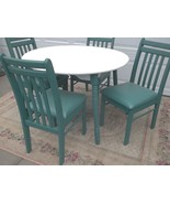 Farmhouse Kitchen/Dining Round Table+4 Wood Dining Chairs;padded seats;c... - $500.00