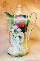 Antique RS Prussia Art Nouveau Porcelain Poppy Floral Chocolate Pot - $346.48