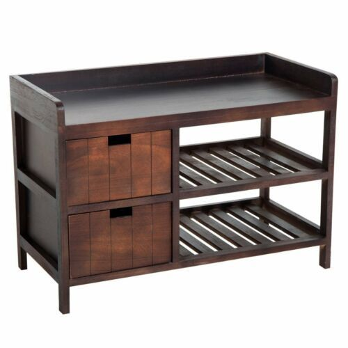 Coffee Brown Finish Wooden Shoe Bench Entryway Organizer Storage Rack Cushion