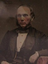 c1860 1/9 plate Ambrotype seated Victorian Gentleman hand tinted face hands - $96.64
