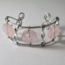 ALUMINUM BANGLE BRACELET WITH PINK QUARTZ HAND-MADE IN ITALY 7 INCHES, 18 CM image 3