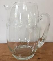Vintage Clear Glass Etched Scrolling Floral Leaves Lemonade Tea Water Pi... - $31.99