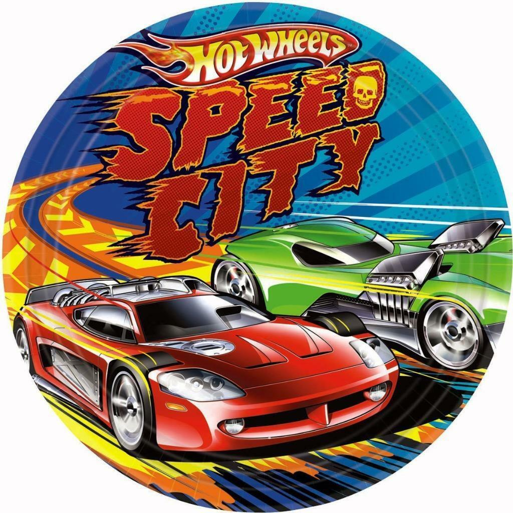 Hot Wheels Speed City Lunch Dinner Plates 8 Per Package Birthday Party Supplies