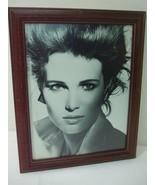 Vintage Framed Art Vogue Girl Model Photo Brown Wooden Frame Anti Glare ... - $19.75