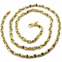 9K YELLOW GOLD NAUTICAL MARINER CHAIN OVALS 3.5 MM THICKNESS, 20 INCHES, 50 CM image 2