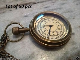 Vintage Style Brass Pocket Watch With Chain Maritime Clocks Gift Item Lo... - £394.00 GBP