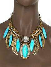 Feuille Faux Turquoise Faux-Diamants Fantaisie Tribal Ethnique Collier Bib - $26.04
