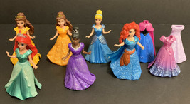 Disney Princess Lot of 6 Magic Clip Dolls Belle Cinderella Merida Ariel Tiana - $56.09