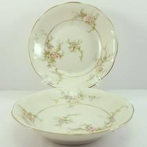 """Theo Haviland NY Rosalinde Berry Bowls 5"""" Set of 2 Ivory Porcelain Pink - $14.30"""