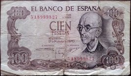 Spain banknote - 100 cien peseta - year 1970 - Manuel de Falla - post-Re... - $4.92