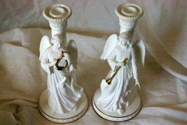 "Lenox Angels Of Nativity Series Set of 2 Angel Candle Sticks 10"" Harp Tr... - $48.50"