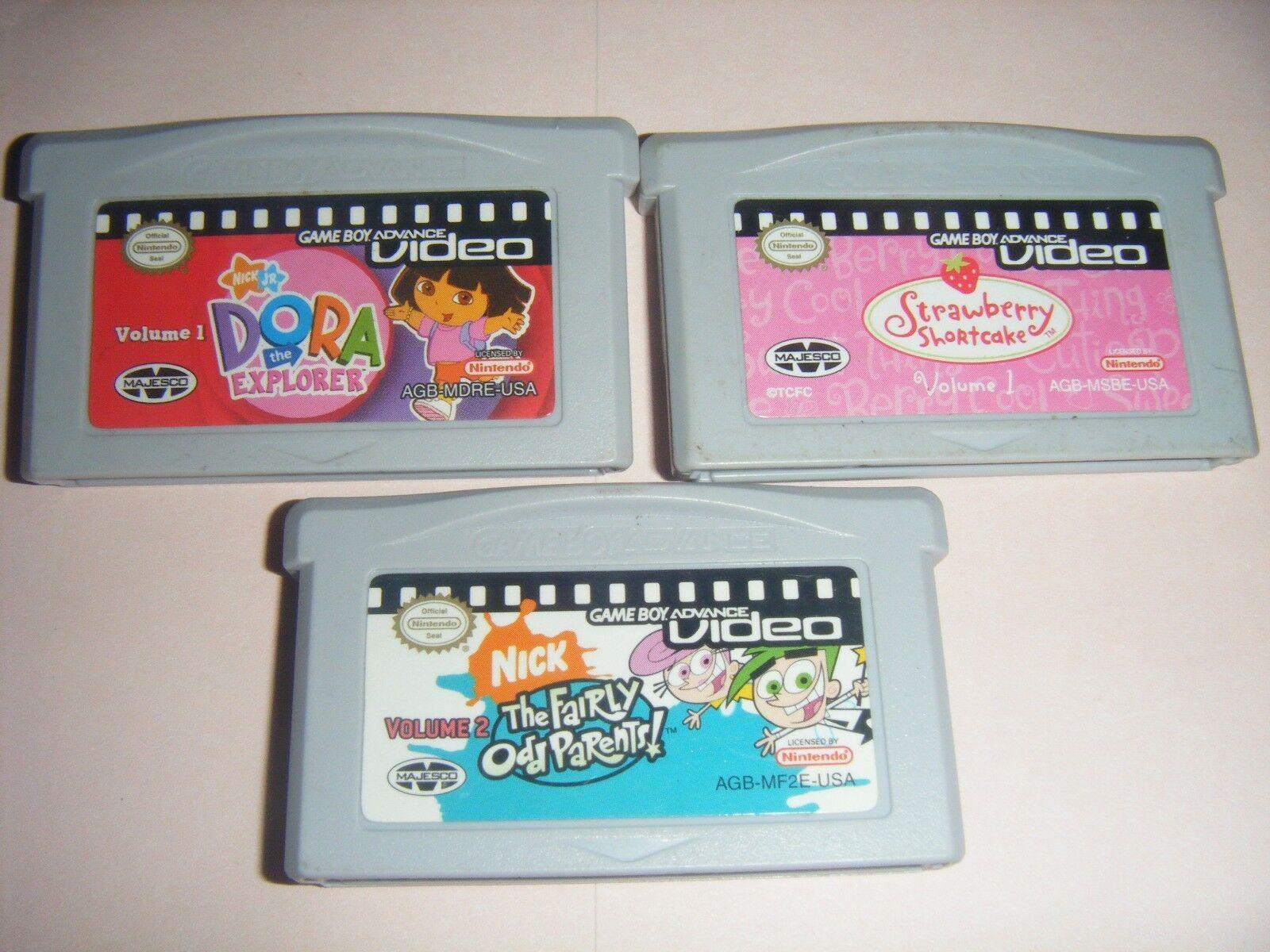 3 GBA Video STRAWBERRY SHORTCAKE Dora Explorer Nintendo Game Boy Advance DS Lite