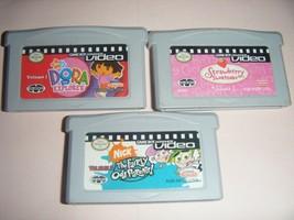 3 GBA Video STRAWBERRY SHORTCAKE Dora Explorer Nintendo Game Boy Advance... - $11.28