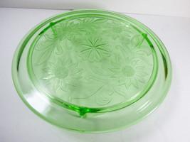 VTG Jeannette Glass Co. Sunflower Pattern 1930's Cake Plate Platter Clear Green - $51.48