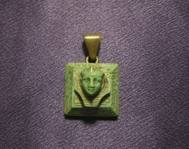 Vintage Jade Colored Pharaoh W/ Gold Tone Detail Pendant Necklace - $54.45