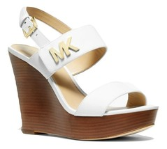 Michael Michael Kors Deanna Leather Wedge Sandals White - $109.99